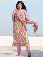 Jashn Gulab - Set of Kurta Pants & Dupatta - KS04A2493D