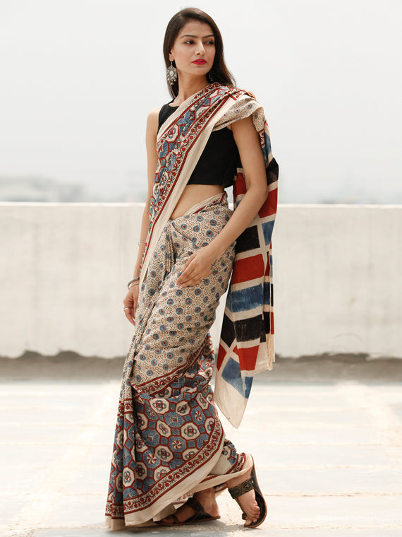 Beige Indigo Maroon Black Ajrakh Hand Block Printed Cotton Saree in Natural Colors - S031703806