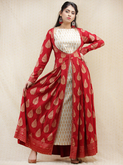 Nazakat - Red Gold Printed Long Cape Dress With Tunic - D377FXXx