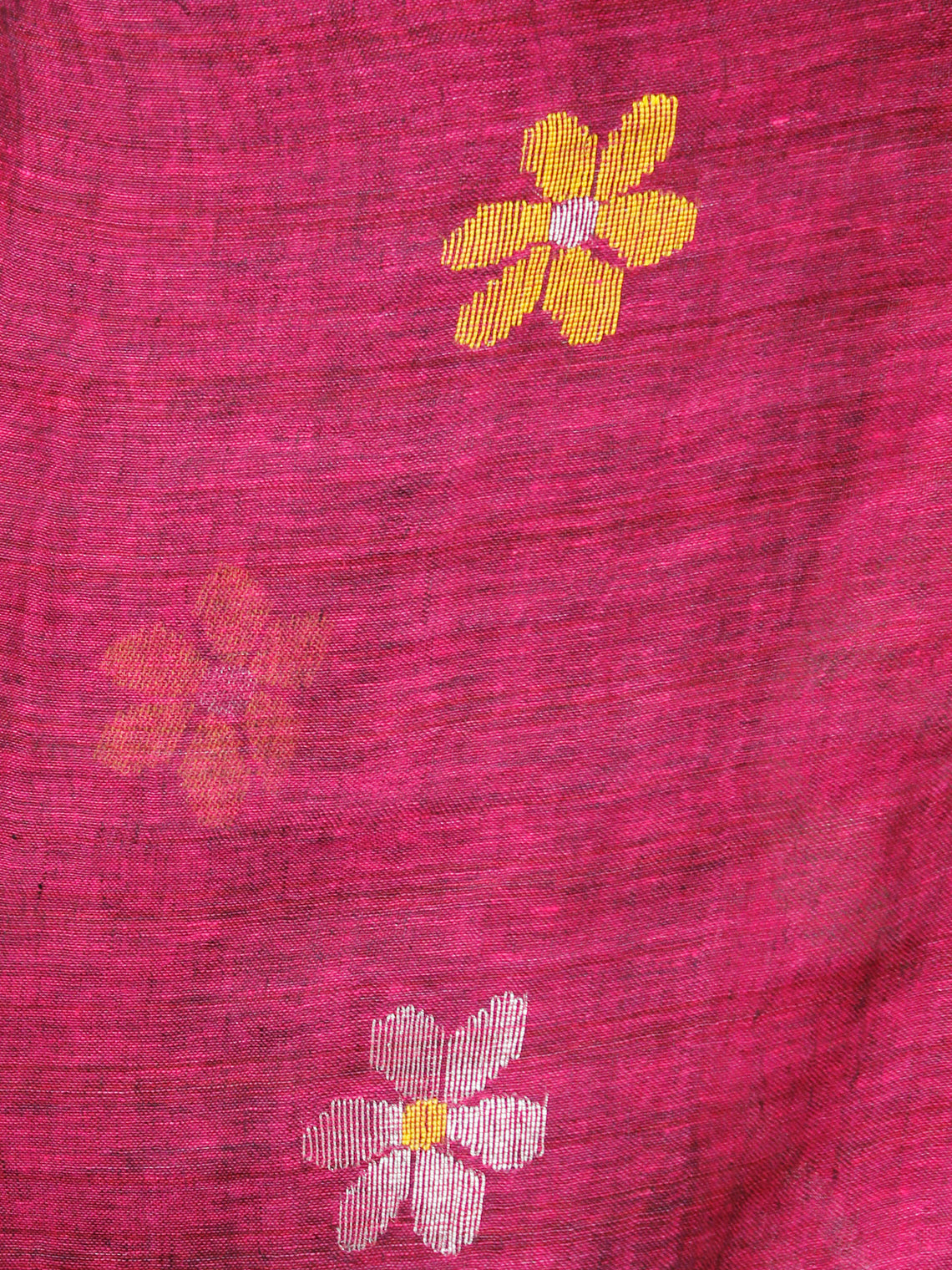 Pink Linen Handloom Jamdani Saree With Zari Border - S031703441