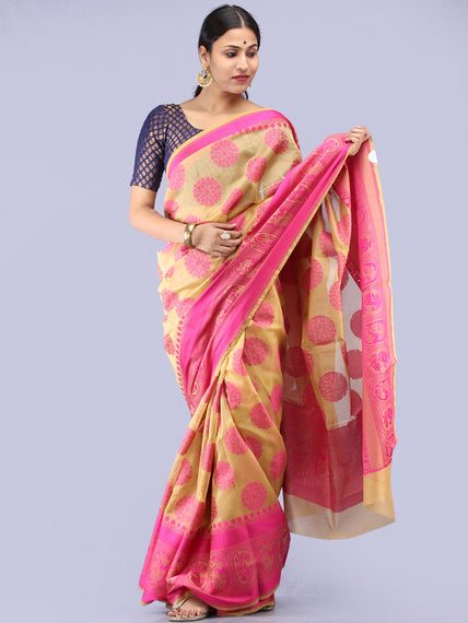 Beige Pink Banarasi Cotton Saree - S031704306