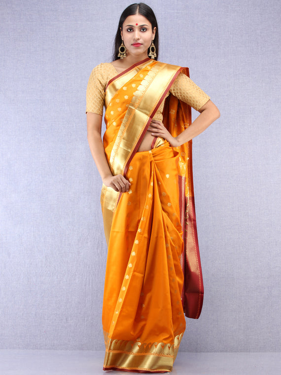 Banarasee Art Silk Saree With Zari Work - Mustard Yellow Maroon & Gold - S031704418