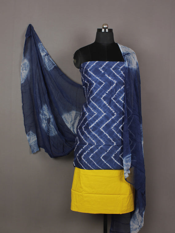 Indigo Ivory Yellow Hand Shibori Dyed Chanderi Kurta & Chiffon Dupatta With Cotton Salwar Fabric Set of 3- S1628206