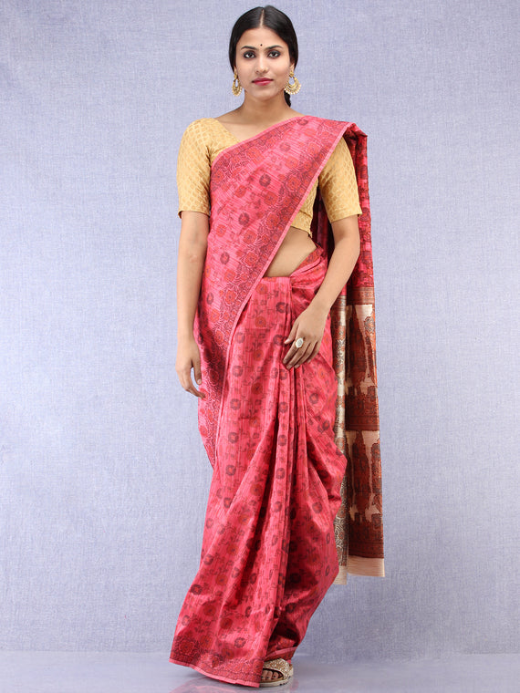 Banarasee Art Silk Saree With Rehsam Weaving Work - Punch Pink & Ivory - S031704397