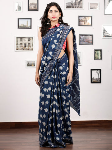 Indigo Ivory Hand Block Printed Cotton Mul Saree in Natural Colors - S031703175
