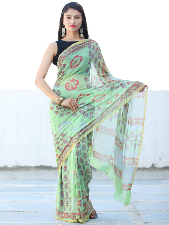 Green Coral Hand Block Printed Chiffon Saree with Zari Border - S031703929