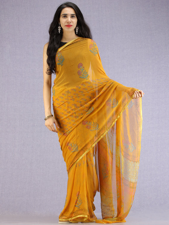 Mustard Red Green Hand Block Printed Chiffon Saree with Zari Border - S031704601
