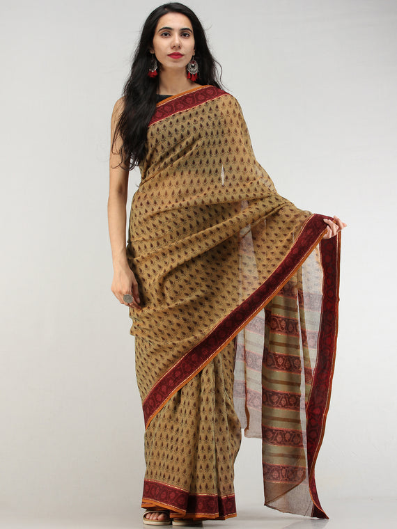 Olive Green Maroon Hand Block Printed Kota Doria Saree In Natural Colors - S031704570