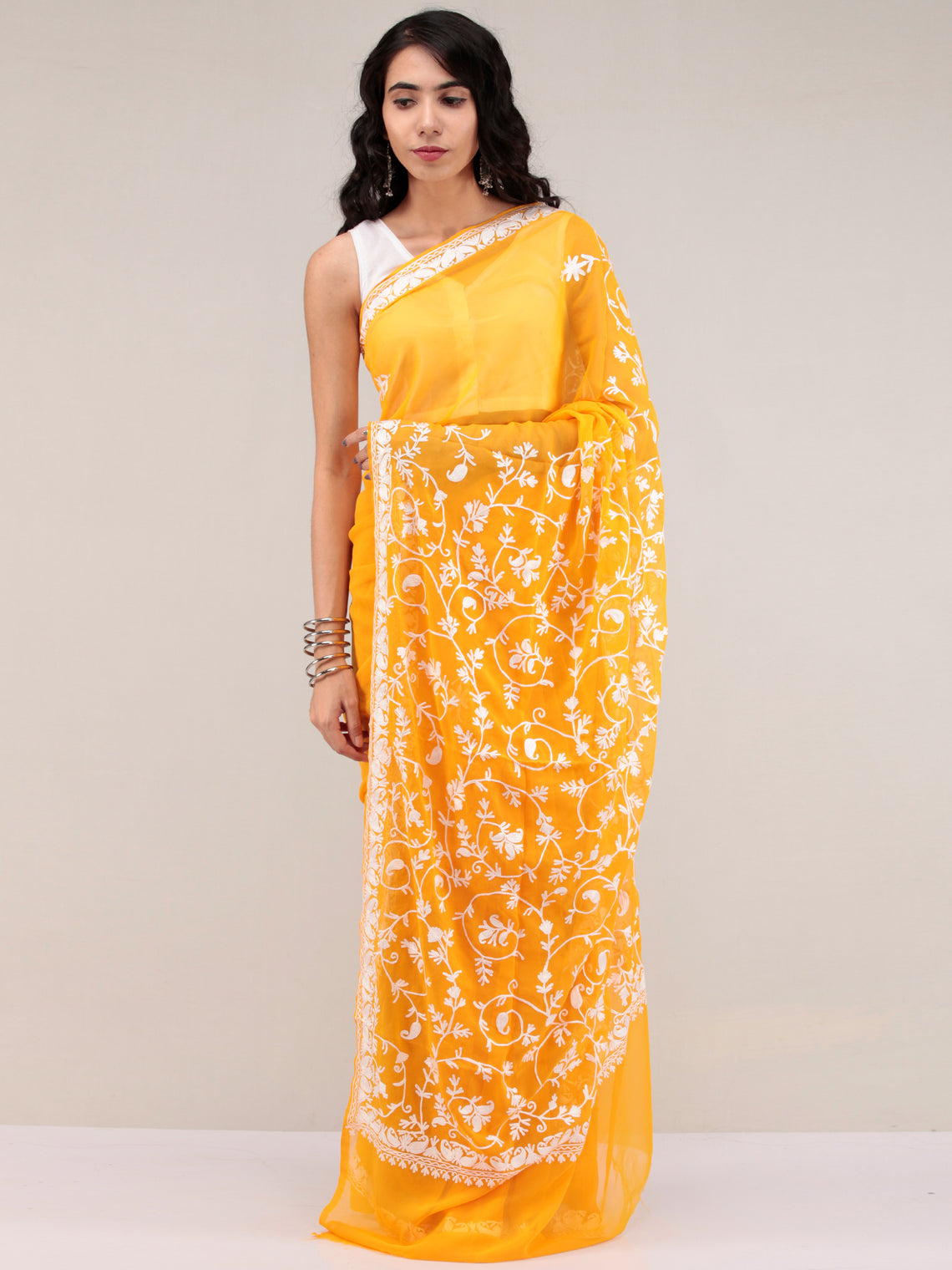 Yellow Aari Embroidered Georgette Saree From Kashmir - S031704641