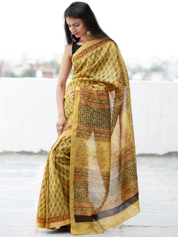 Yellow Maroon Black Bagh Hand Block Printed Maheswari SilkSaree With Resham Border - S031703842