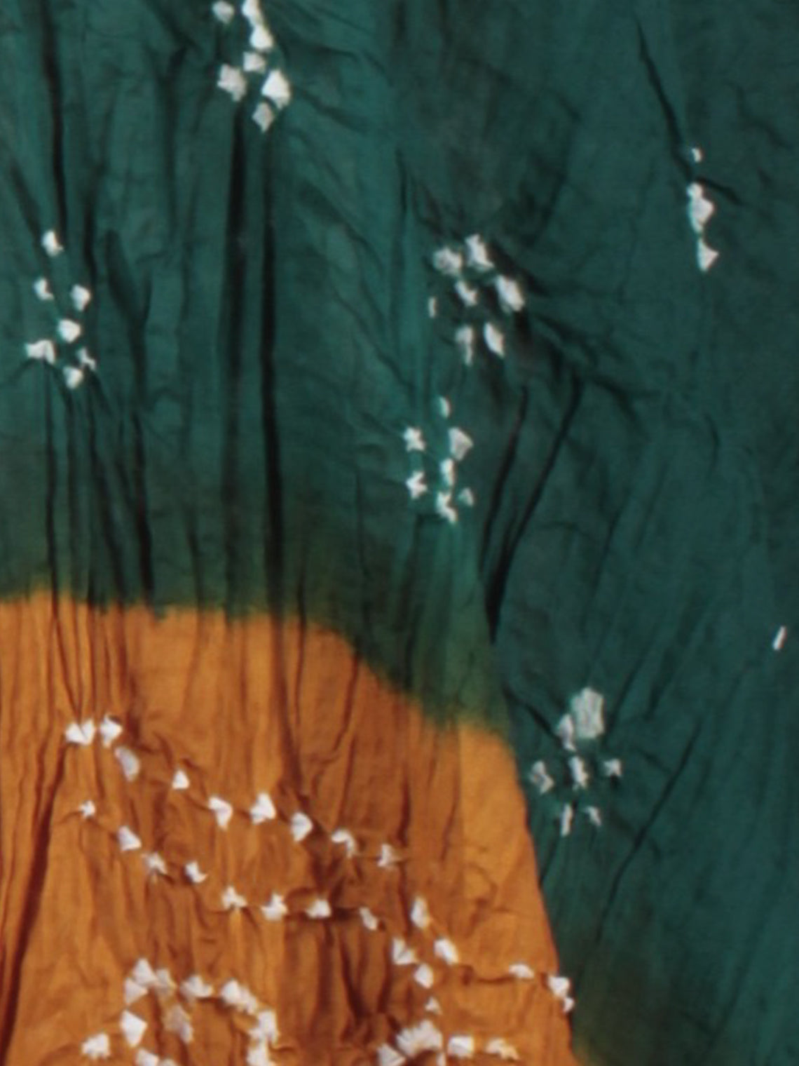 Peanut Brown Green White Hand Tie & Dye Bandhej Suit Salwar Dupatta (Set of 3)  - S16281257