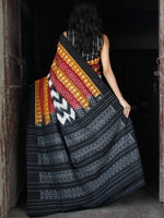 Maroon Brown Black White Double Ikat Handwoven Cotton Saree - S031703528