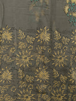 Grey Yellow Green Hand Block Printed Chiffon Saree with Zari Border - S031703250