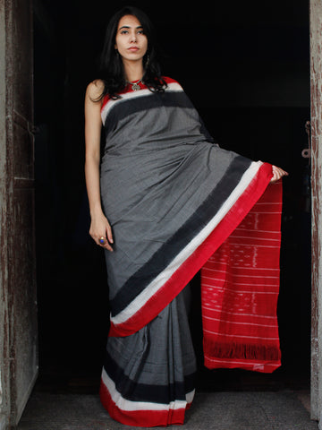 Black White Grey Red Double Ikat Handwoven Cotton Saree - S031703529