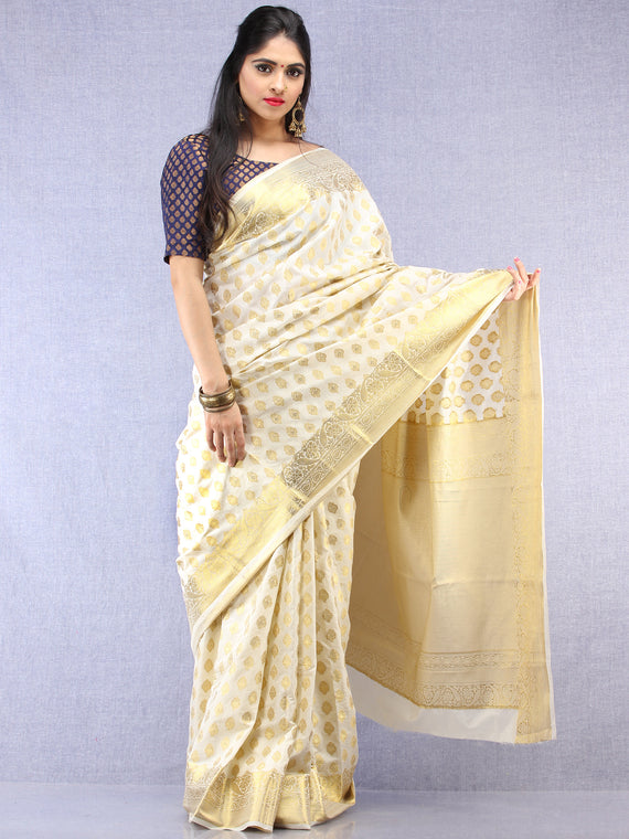 Banarasee Semi Silk Saree With Zari Work - Ivory & Gold - S031704396