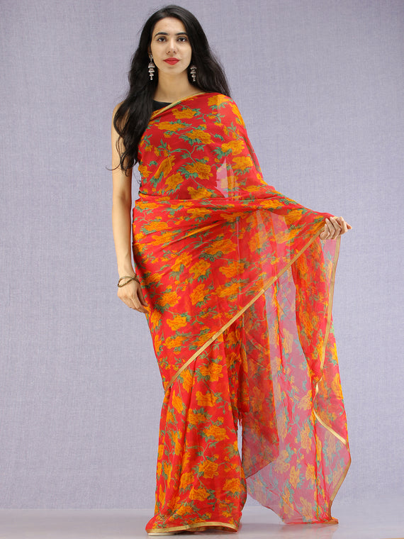 Red Green Yellow Hand Block Printed Chiffon Saree with Zari Border - S031704602