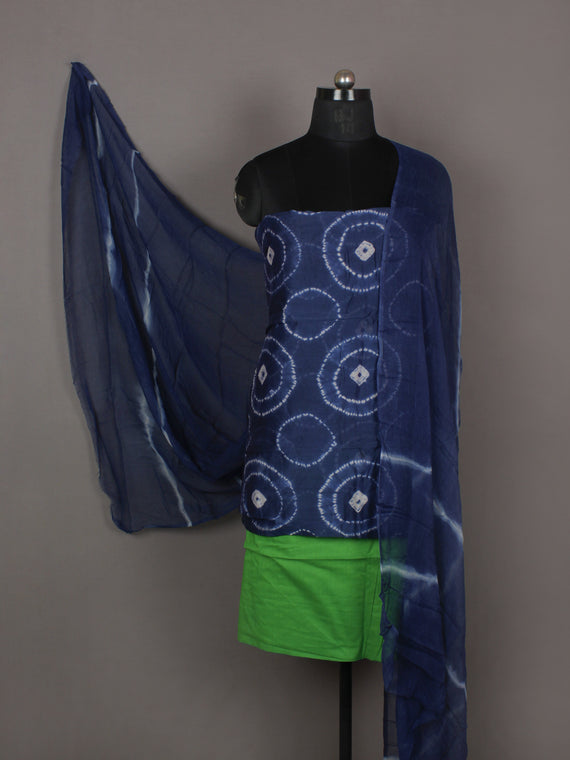 Indigo Ivory Green Hand Shibori Dyed Chanderi Kurta & Chiffon Dupatta With Cotton Salwar Fabric Set of 3- S1628207
