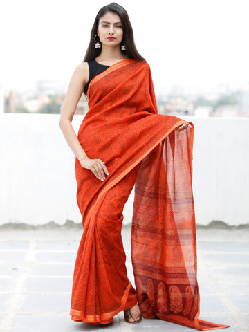 Coral Maroon Black Bagh Hand Block Printed Maheswari SilkSaree With Resham Border - S031703843