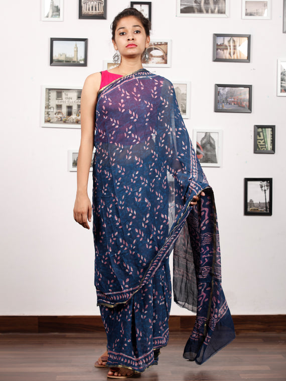 Indigo Purple White Hand Block Printed Chiffon Saree with Zari Border - S031703168