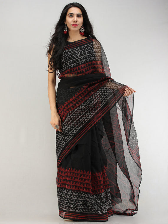 Black Red Hand Block Printed Kota Doria Saree In Natural Colors - S031704571