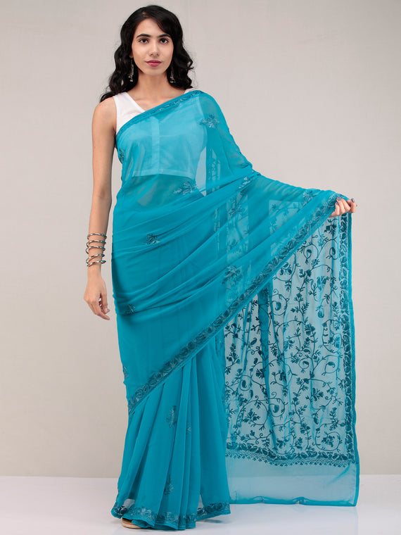 Blue Aari Embroidered Georgette Saree From Kashmir - S031704642