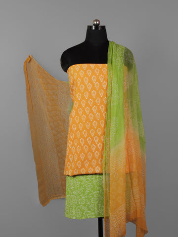Orange Green Ivory Hand Block Printed Cotton Suit-Salwar Fabric With Chiffon Dupatta (Set of 3) - S16281296