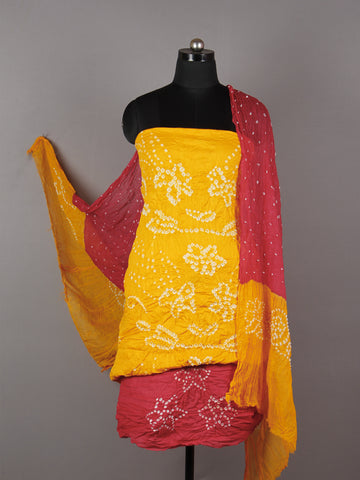 Yellow Red White Hand Tie & Dye Bandhej Suit Salwar Dupatta (Set of 3)  - S16281258