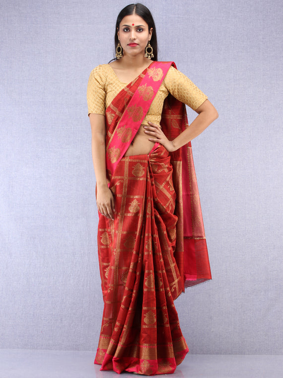 Banarasee Cotton Silk Saree With Zari Work - Maroon Red & Gold - S031704419