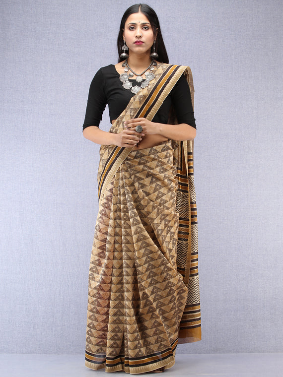 Ivory Black Hand Block Printed Chanderi Saree With Geecha Border - S031704498