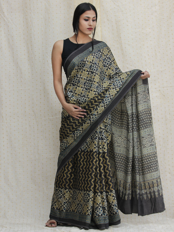 Charcoal Black Ivory Olive Green Ajrakh Hand Block Printed Modal Silk Saree - S031704132