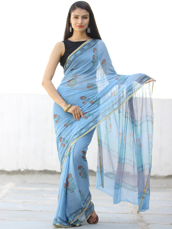 Sky Blue Coral Hand Block Printed Chiffon Saree with Zari Border - S031703974