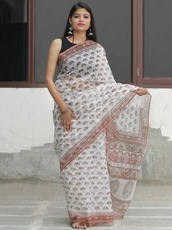 White Light Brown Hand Block Printed Kota Doria Saree  - S031704090