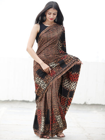 Coffee Brown Black Red Ivory Ajrakh Hand Block Printed Modal Silk Saree in Natural Colors - S031703713