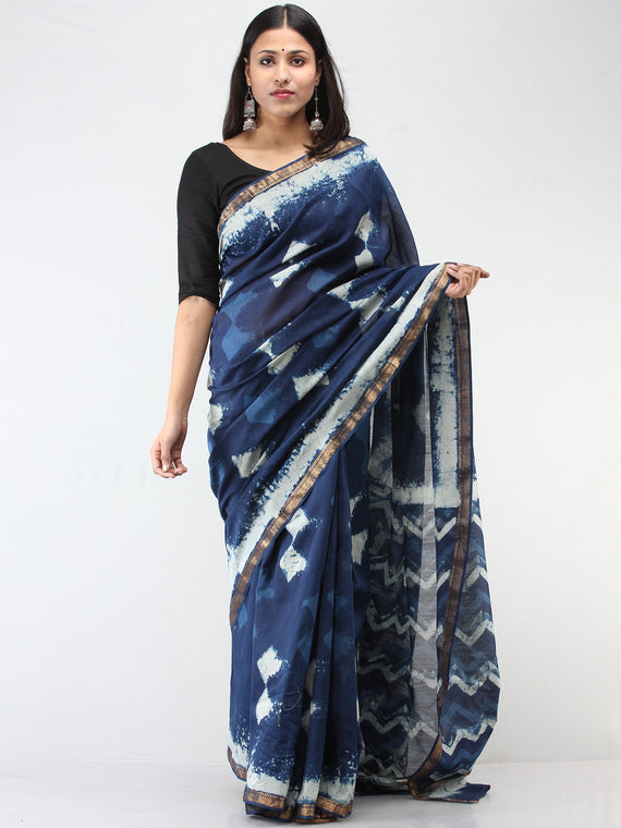 Indigo Ivory Maheshwari  Hand Block Printed Saree With Zari Border - S031704474