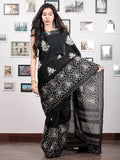Black White Grey Hand Block Printed Cotton Mul Saree   - S031703036