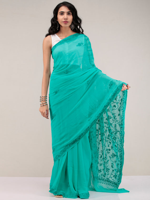 Green Aari Embroidered Georgette Saree From Kashmir - S031704643