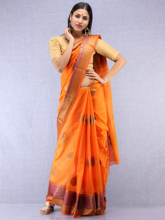 Banarasee Cotton Silk Saree With Zari Work - Orange Purple & Gold - S031704420