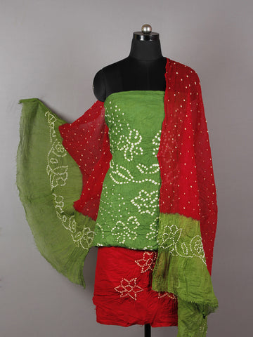 Green Red White Hand Tie & Dye Bandhej Suit Salwar Dupatta (Set of 3)  - S16281259