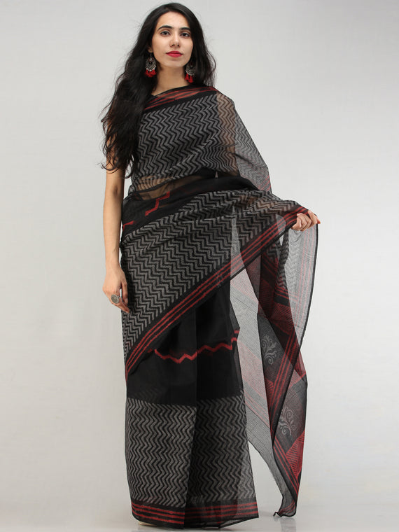 Black Red Hand Block Printed Kota Doria Saree In Natural Colors - S031704573