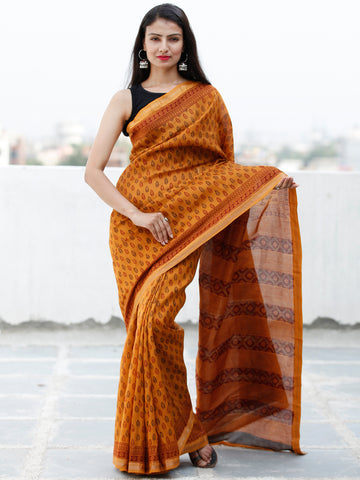 Rust Orange Maroon Black Bagh Hand Block Printed Maheswari Silk Saree With Resham Border - S031703844