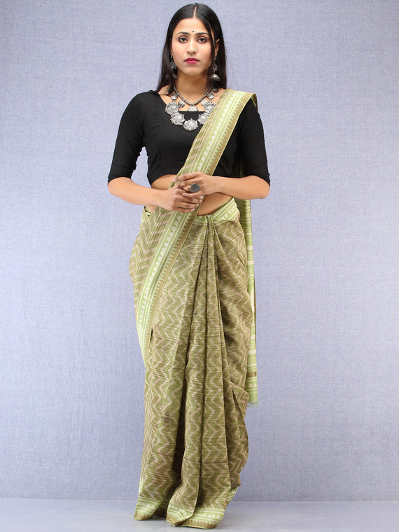 Light Green Ivory Chanderi Hand Block Printed Saree With Geecha Border - S031704499