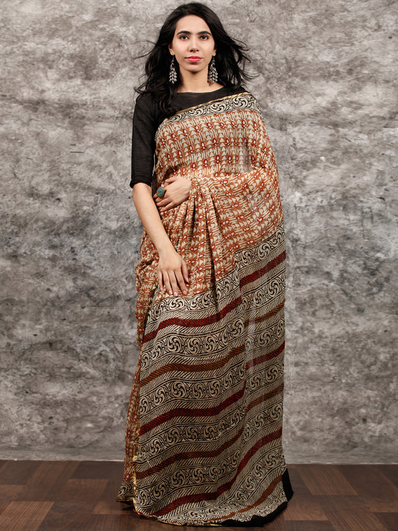 Beige Rust Brown Black Hand Block Printed Chiffon Saree with Zari Border - S031703493