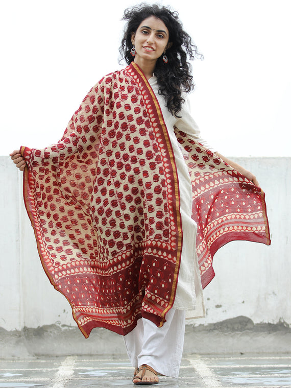 Cherry Red Ivory Chanderi Hand Block Printed Dupatta - D04170317