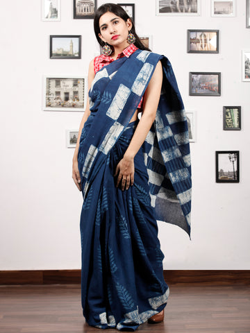 Indigo Ivory Hand Block Printed Cotton Mul Saree in Natural Colors - S031703176