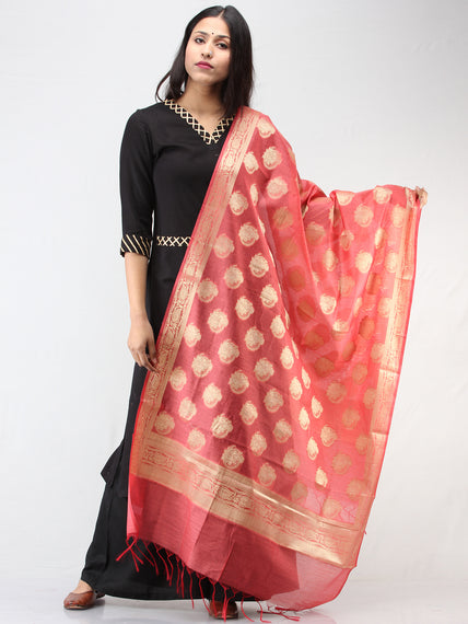 Banarasi Semi Georgette Dupatta With Zari Work -  Coral & Gold  - D04170918