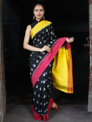 Black Yellow Grey Red Ikat Handwoven Ganga Jamuna Border Cotton Saree - S031703629