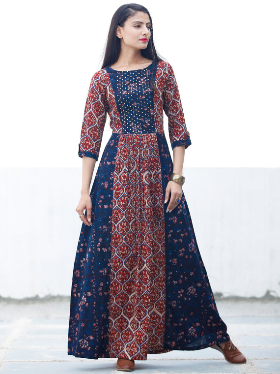 BLOCK SEQUENCE - Hand Block Printed Long Cotton Dress With York Embroidery - D349F1807