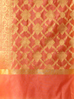 Banarasi Chanderi Dupatta With Zari Work - Peach & Gold - D04170810