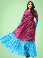 Mohak - Wine Blue Hand Woven Silk Cotton Ikat Tier Dress - D175F1971