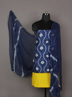 Indigo Ivory Yellow Hand Shibori Dyed Chanderi Kurta & Chiffon Dupatta With Cotton Salwar Fabric Set of 3- S1628209